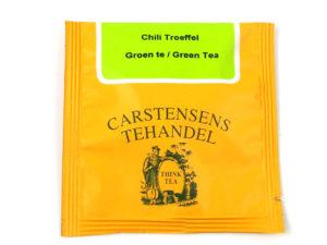 Tebrev med Grøn Chili Trøffel te til undervejs eller bare til en enkelt god kop te. Grøn te fra Kina. Denne specielle te indeholder rosen peber, chili, chokolade stykker og kakao. Smagen er let og med noter af fløde og karamel. Teen er tilsat en mild chili der primært har til formål at støtte op omkring chokoladesmagen.