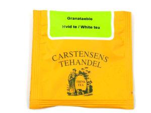 Tebrev med Hvid te med Granatæble Ananas til undervejs eller bare til en enkelt god kop te.