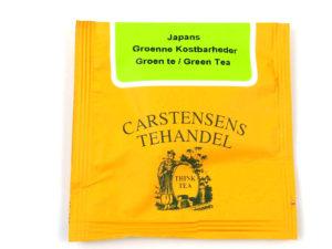 Tebrev med Japans Grønne Kostbarheder til undervejs eller bare til en enkelt god kop te. Grøn tekompsistion med udsøgter teer fra Kina og Japan, Jordbærsytkker og ribs
