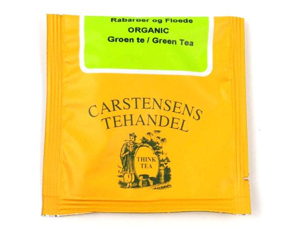 Tebrev med Grøn Rabarber Fløde Te til undervejs eller bare til en enkelt god kop te.