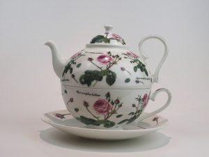 Porcelæns tekande og tekop i én. Kanden indeholder 0,7 liter, her med motiv af roser.