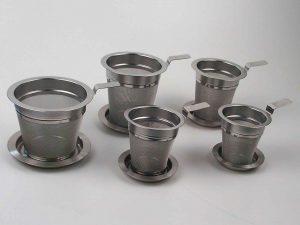 Tefilter i rustfrit stål incl. stål bakke/låg.