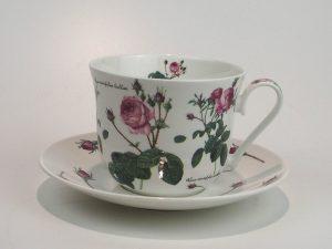 Flot porcelæns tekop med underkop 0,5 L med motiv af Rosa roser.