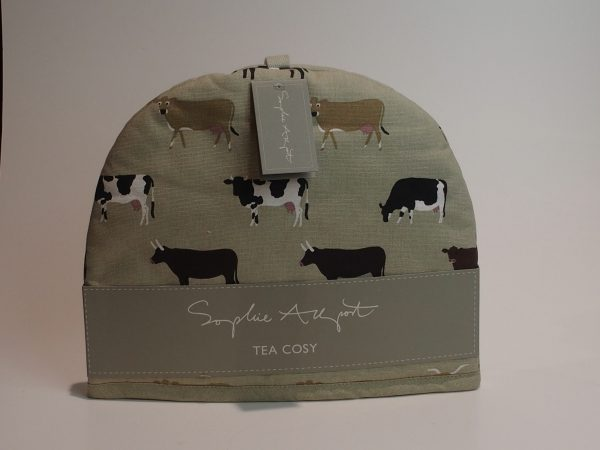 Tehætte, tea Cosy med motiver af køer.